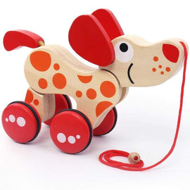 Dragging Wooden Activity Dog - activity toys