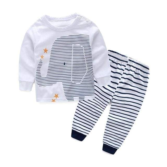 Elephant Stripe Clothing Set - sleepwear