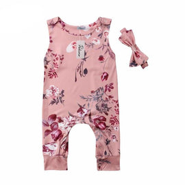 Floral Pattern Jumpsuit with Headband for Baby Girl