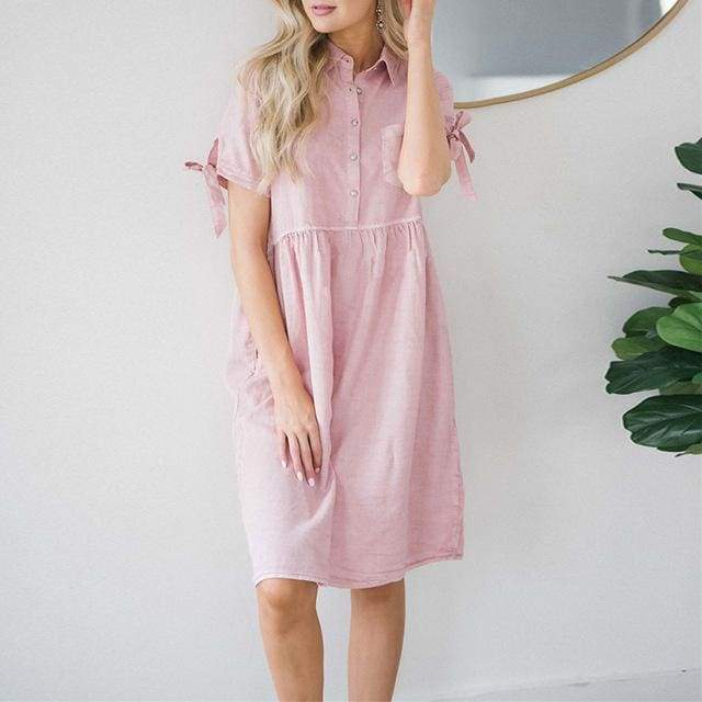 Knee-length Pink Maternity Summer Dress - Pink / 8/10 - maternity dresses