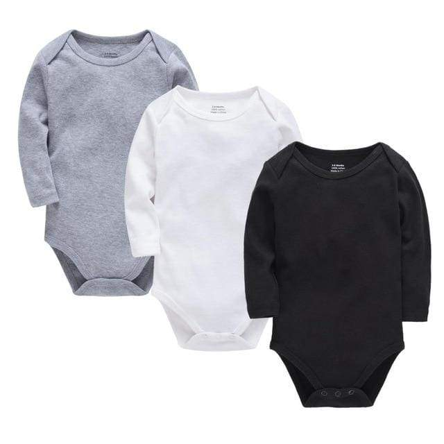 Long Sleeve 100% Cotton Black Baby Body - Black / 12M - body