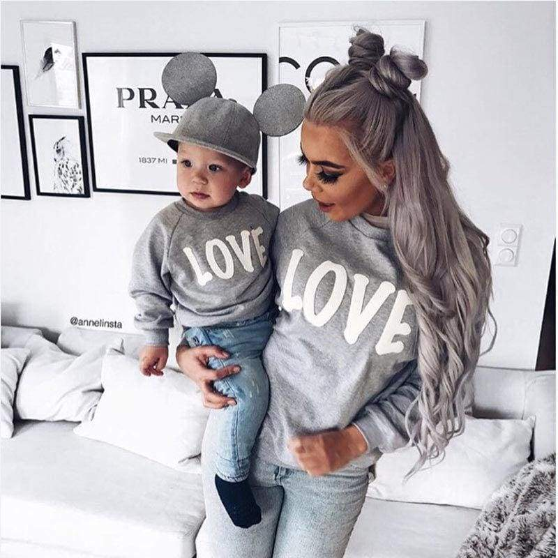 Matching Love Text Sweater - S / Gray / Organic Cotton - tops