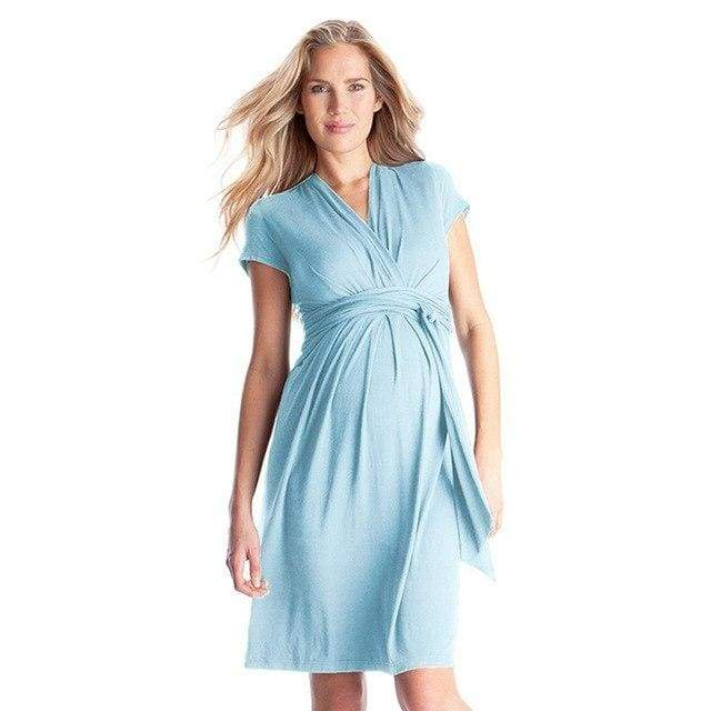 Maternity Knee-length Baby Blue Dress Bow Tie - Baby Blue / 3XL - maternity dresses