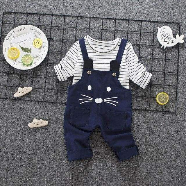 Mouse Strap Pant And Stripe Sweater - clothing set