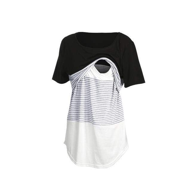 Nursing Stripe T-shirt - Black / S - maternity tops