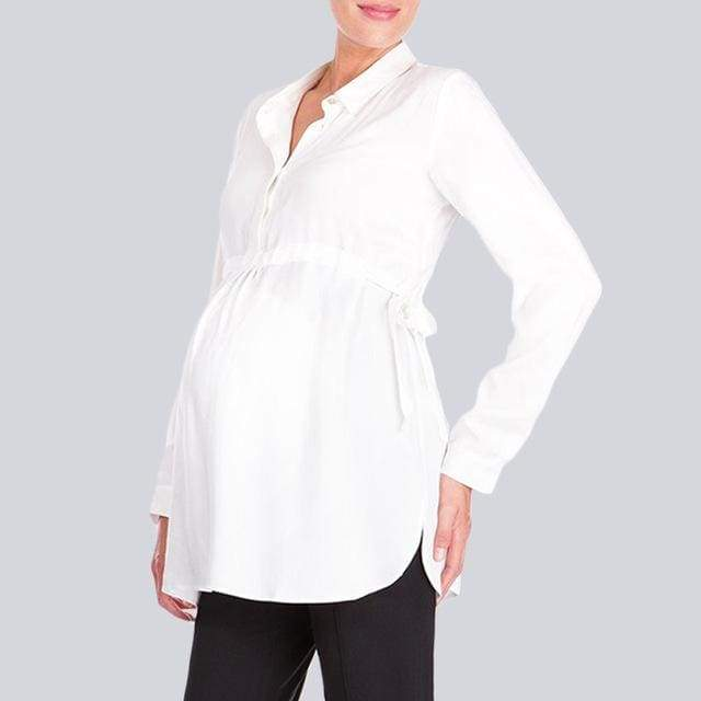Pregnancy Woman Casual White Shirt - White / S - maternity tops