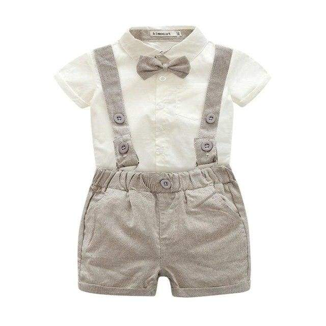 Short And Shirt With Bow Tie Set - H / 6M - clothing set