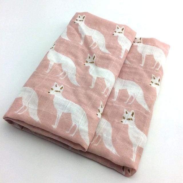 Soft Cotton and Bamboo White Fox Baby Burp Cloth - White Fox - textile