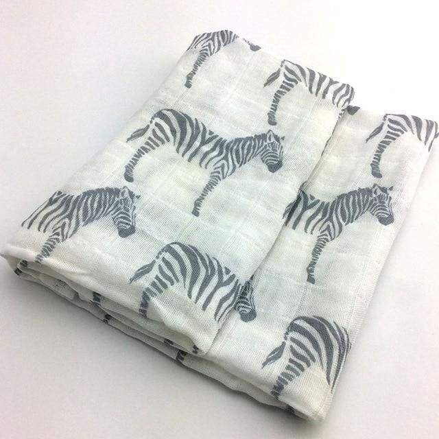 Soft Cotton and Bamboo Zebra Baby Burp Cloth - Zebra - textile
