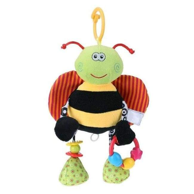 Soft Cotton Bee Baby Rattle - Black and yellow