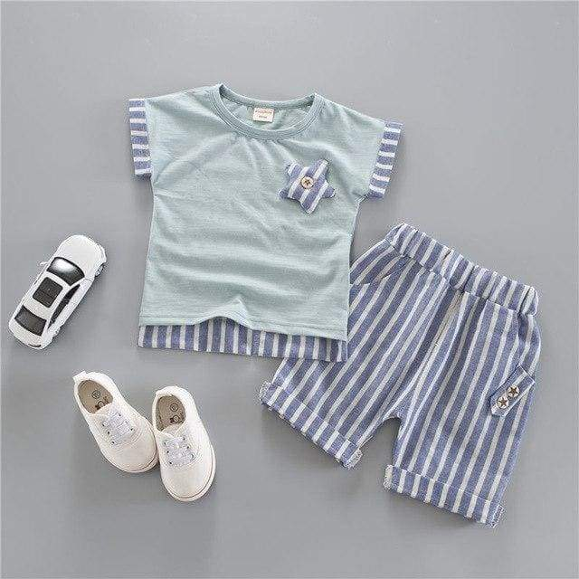 T-shirt And Short Stripe Summer Clothing - clothing set