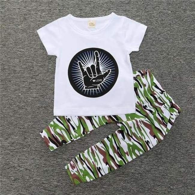 Trouser And T-shirt Summer Set - Love / 24 Months - clothing set