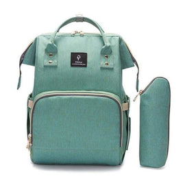 Waterproof Green Diaper Backpack With USB Charger - green - diaper bags