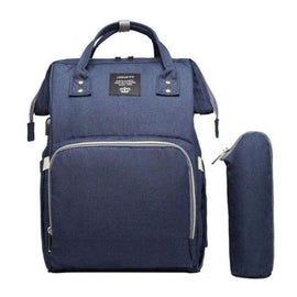 Waterproof Navy Blue Diaper Backpack With USB Charger - Navy Blue - diaper bags