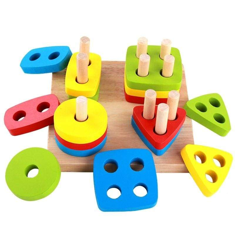 Wooden Building Blocks Geometry Shape - games & puzzle