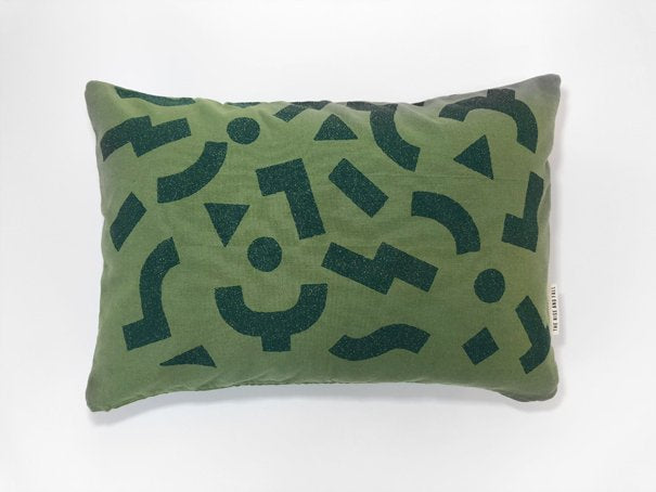 "The Rise And Fall - 12"" x 18"" Blocks Pillow - Green"