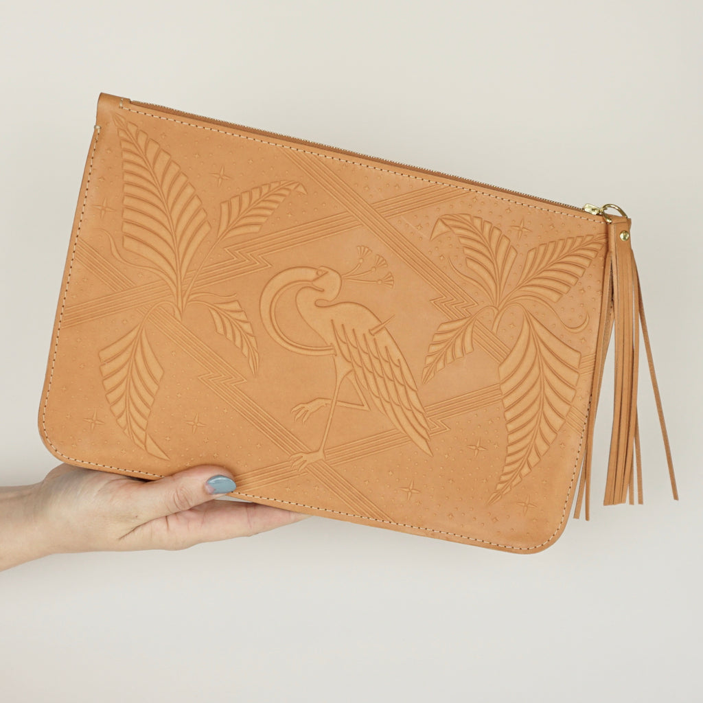 Bon Sang Tan Leather Clutch