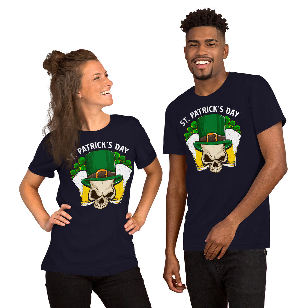 """St. Patrick's Day - Leprechaun Skull"" Short-Sleeve Unisex T-Shirt - see more colors and sizes"