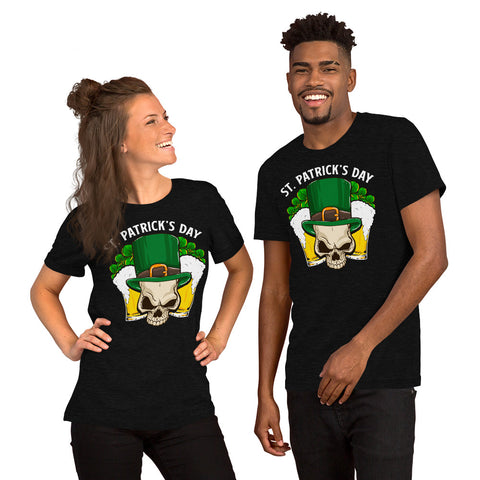 "Image of ""St. Patrick's Day - Leprechaun Skull"" Short-Sleeve Unisex T-Shirt - see more colors and sizes"