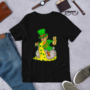 """St. Patrick's Day - Puking Leprechaun"" Short-Sleeve Unisex T-Shirt - see more colors and sizes"