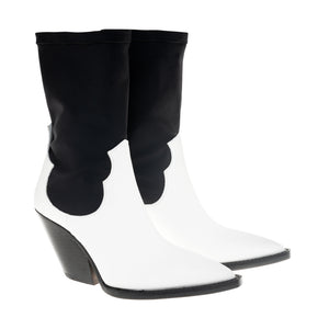 TEXAN white calf leather and black lycra boot
