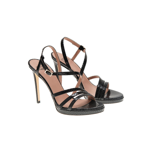 FESTA pyton black patent leather sandal