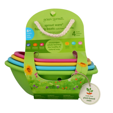 iPlay Inc., Green Sprouts, Sprout Ware, Floating Boats, 6+ Months, 4 Boats