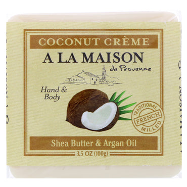 A La Maison de Provence, Hand & Body Bar Soap, Coconut Cream, 3.5 oz (100 g)