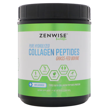 Zenwise Health, Pure Hydrolyzed Collagen Peptides, Grass-Fed Bovine, Unflavored, 20 oz (567 g)