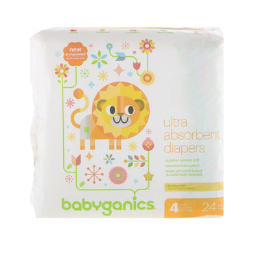 BabyGanics, Ultra Absorbent Diapers, Size 4, 22-37 lbs, (10-17 kg), 24 Diapers
