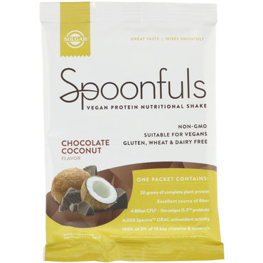 Solgar, Spoonfuls, Vegan Protein Nutritional Shake, Chocolate Coconut, 1.7 oz (49 g)