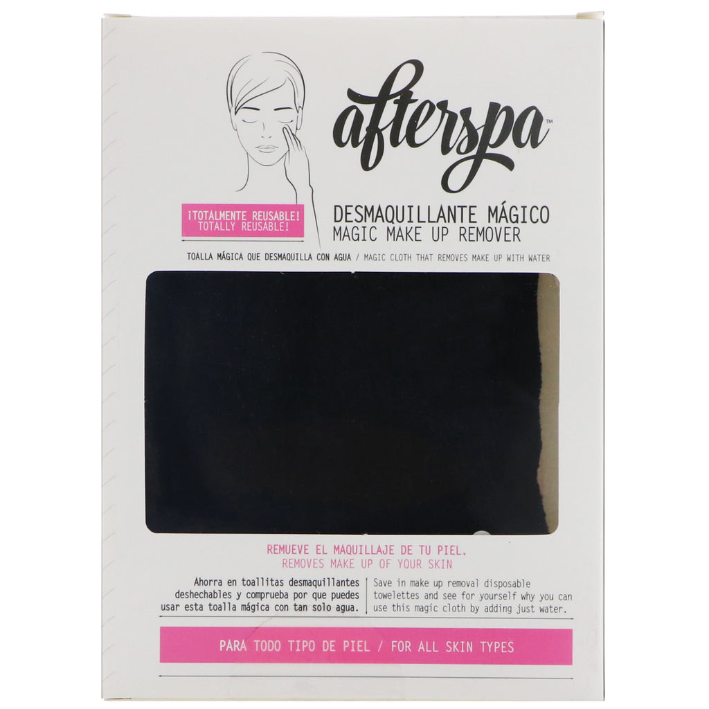 AfterSpa, Magic Make Up Remover Reusable Cloth, Black, 1 Cloth