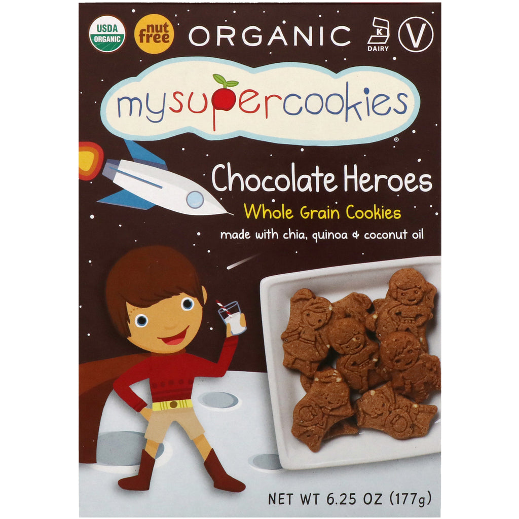 MySuperCookies Whole Grain Cookies Chocolate Heroes 6.25 oz (177 g)