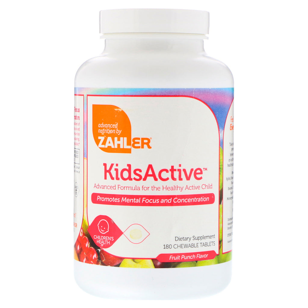 Zahler, KidsActive, Advanced Formula for the Healthy Active Child, Fruit Punch, 180 Chewable Tablets