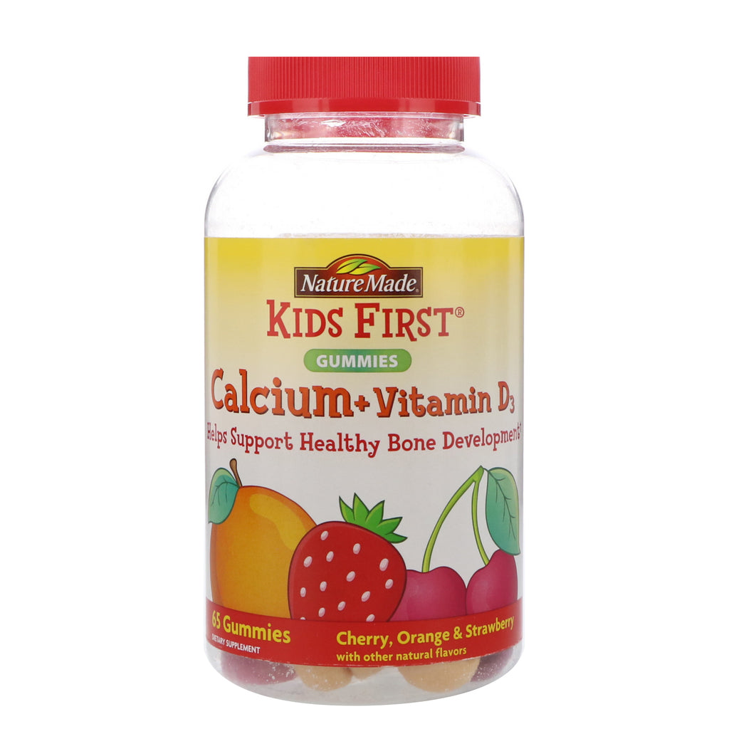 Nature Made, Kids First, Calcium + Vitamin D3 Gummies, Cherry, Orange & Strawberry, 65 Gummies