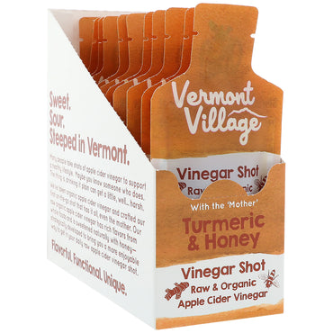 Vermont Village Vinegar Shots, Organic, Apple Cider Vinegar Shot, Tumeric & Honey, 12 Pouches, 1 oz (28 g) Each