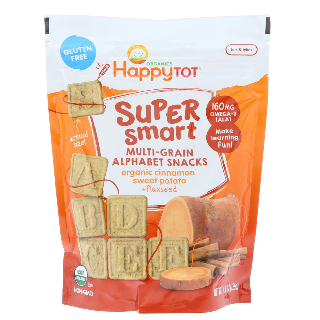 Nurture Inc. (Happy Baby) Happy Tot Super Smart Multi-Grain Alphabet Snacks Organic Cinnamon Sweet Potato + Flaxseed 4.4 oz (125 g)