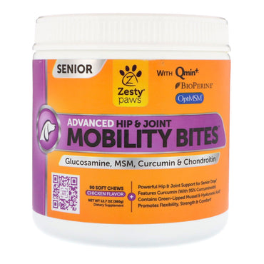 Zesty Paws, Mobility Bites for Dogs, Advanced Hip & Joint, Senior, Chicken Flavor, 90 Soft Chews
