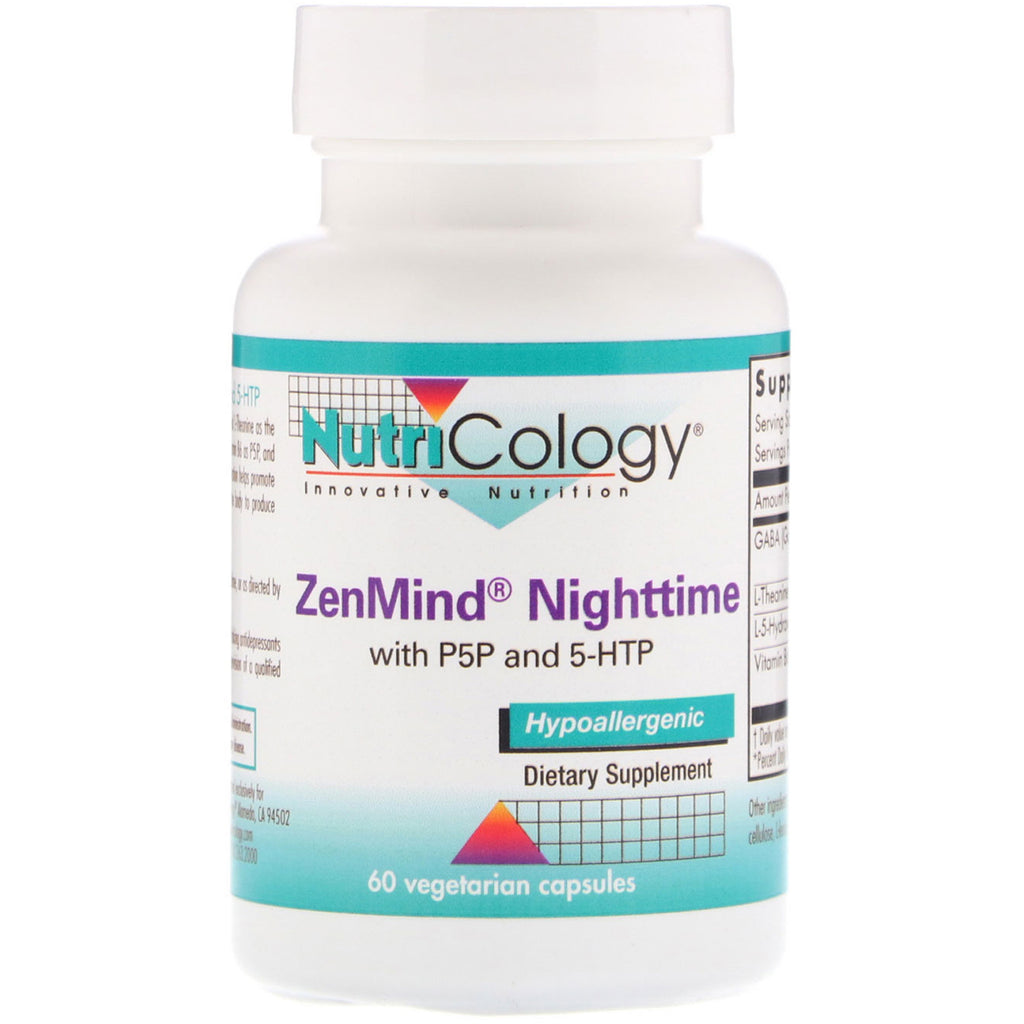 Nutricology, ZenMind Nighttime with P5P and 5-HTP, 60 Vegetarian Capsules