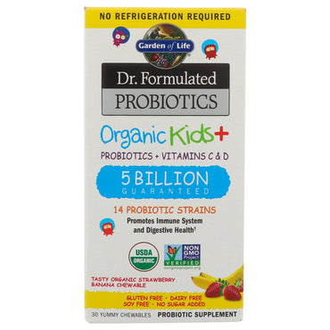 Garden of Life, Dr. Formulated Probiotics Organic Kids+, Probiotics + Vitamins C & D, 5 Billion, Tasty Organic Strawberry Banana, 30 Yummy Chewables