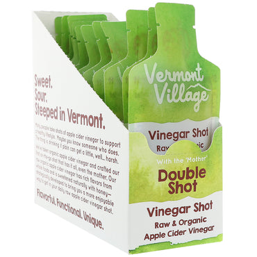 Vermont Village Vinegar Shots, Organic, Apple Cider Vinegar Shot, Double Shot, 12 Pouches, 1 oz (28 g) Each