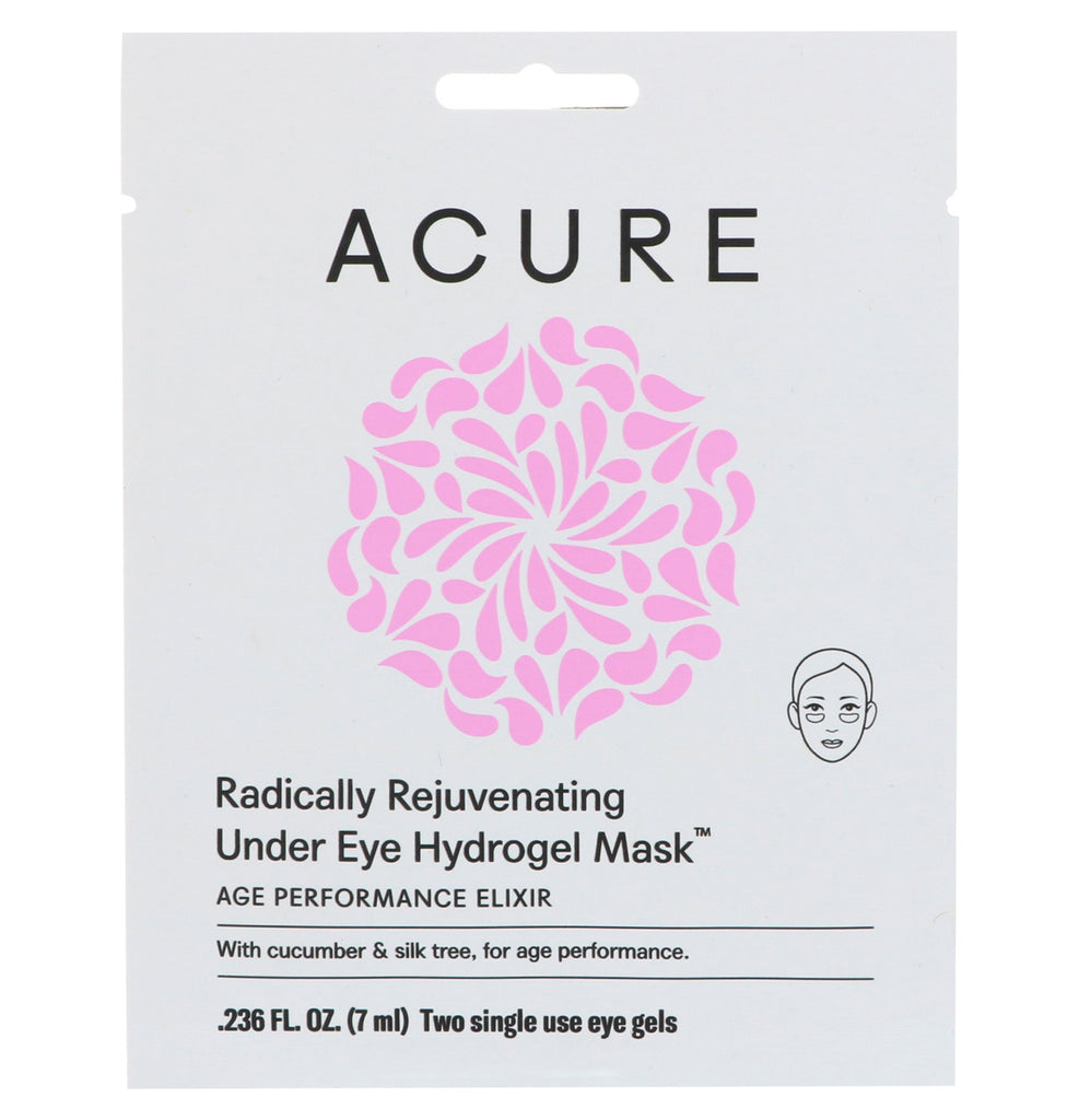 Acure, Radically Rejuvenating Under Eye Hydrogel Mask, 2 Single Use Eye Gels, 0.236 fl oz (7 ml)