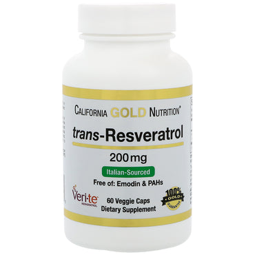 California Gold Nutrition Trans-Resveratrol 98% Pure 200 mg 60 Veggie Caps