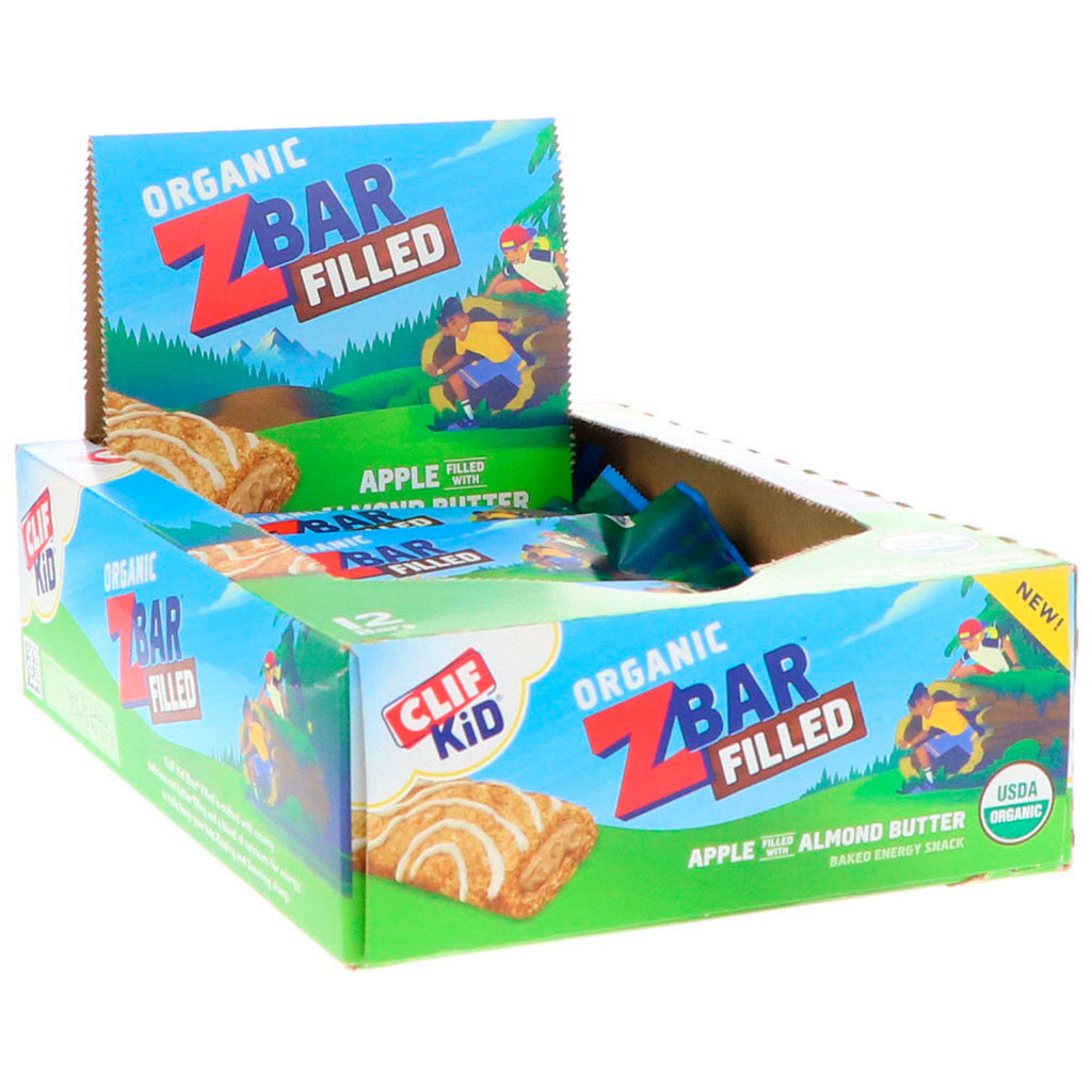 Clif Bar Clif Kid Organic ZBar Filled Apple Filled with Almond Butter 12 Bars 1.06 oz (30 g) Each