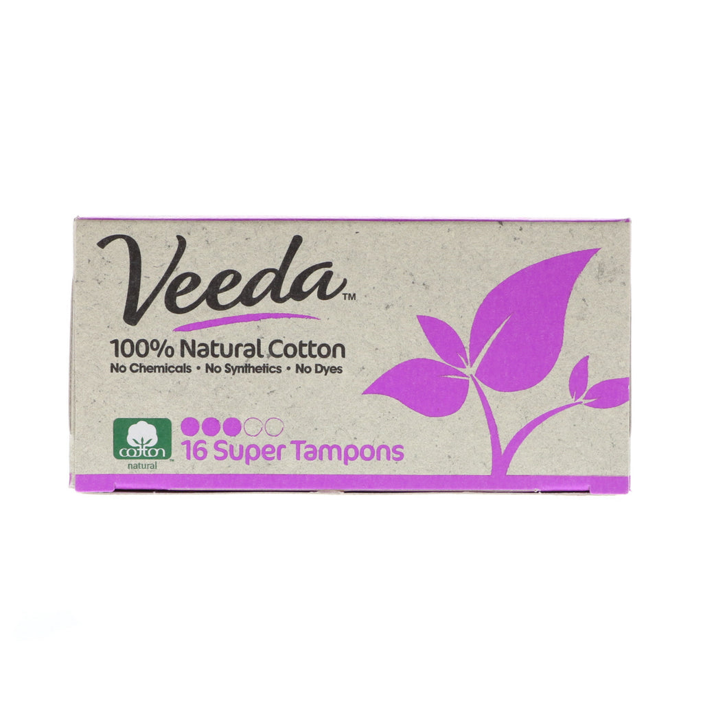Veeda, 100% Natural Cotton Tampon, Super, 16 Tampons