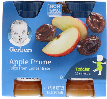 Gerber, Apple Prune Juice, Toddler, 12+ Months, 4 Pack, 16 fl oz (473 ml)
