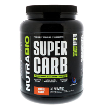 NutraBio Labs, Super Carb, Orange Mango, 1.9 lb (841 g)