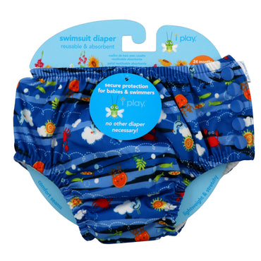 iPlay Inc., Swimsuit Diaper, Reusable & Absorbent, 24 Months, Royal Blue Sea Friends, 1 Diaper