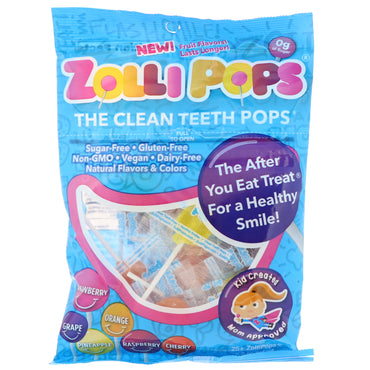 Zollipops  The Clean Teeth Pops Strawberry Orange Raspberry Cherry Grape Pineapple 25+ ZolliPops 5.2 oz