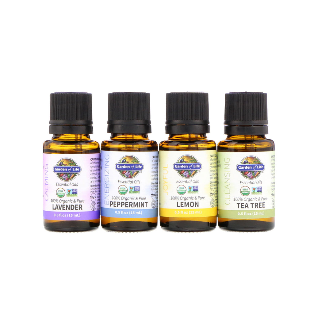 Garden of Life Organic Essential Oil Starter Pack Lavender Peppermint Lemon Tea Tree 4 Bottles 0.5 fl oz (15 ml) Each
